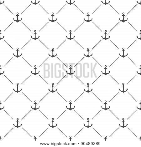 White seamless pattern with vector anchors