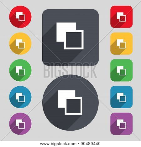 Active Color Toolbar Icon Sign. A Set Of 12 Colored Buttons And A Long Shadow. Flat Design. Vector