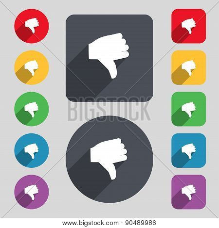 Dislike, Thumb Down Icon Sign. A Set Of 12 Colored Buttons And A Long Shadow. Flat Design. Vector