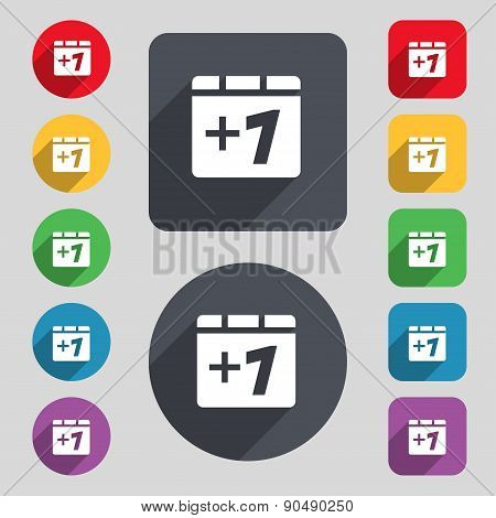 Plus One, Add One Icon Sign. A Set Of 12 Colored Buttons And A Long Shadow. Flat Design. Vector