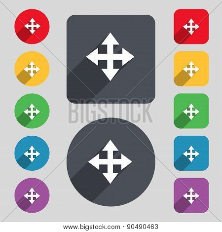 Deploying Video, Screen Size Icon Sign. A Set Of 12 Colored Buttons And A Long Shadow. Flat Design.