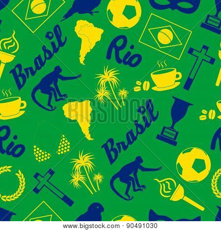 Color Brazil Icons And Symbols Seamless Pattern Eps10