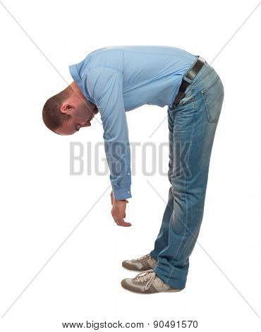 tired bend man isolated on white background