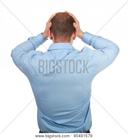 stressed man isolated on white background