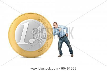 3d euro coin and man in push position