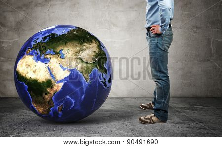 3d image of world globe europe side  and man