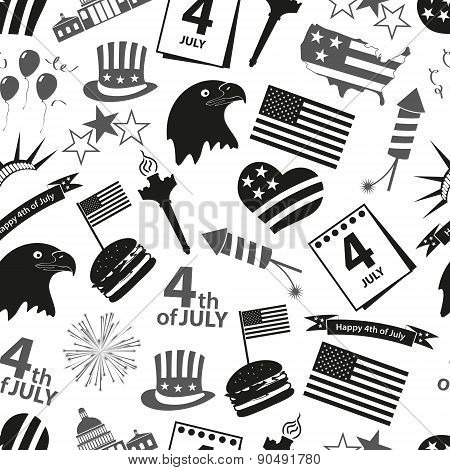 American Independence Day Celebration Icons Seamless Pattern Eps10