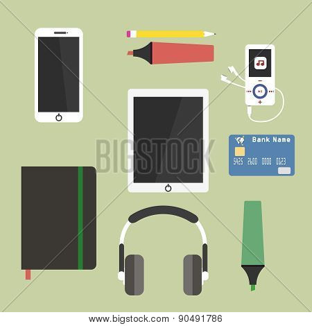 Set Of Business Working Elements For Digital Marketing