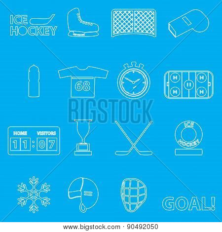 Ice Hockey Sport Outline Icons Set Eps10