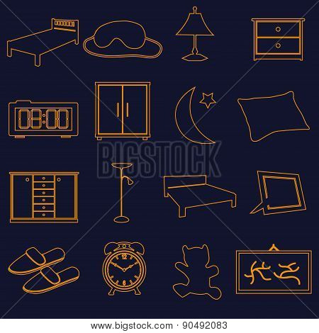 Home Bedroom Outline Simple Icons Set Eps10