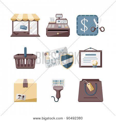 Shop icons set // Flat design retro style