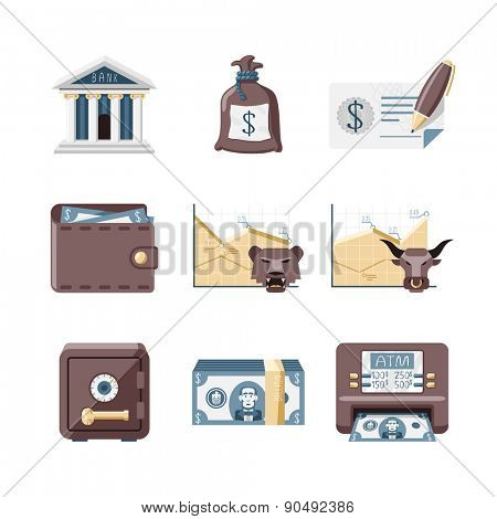 Financial, Banking and investments icons set // Flat design retro style
