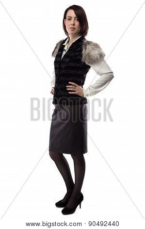Photo of woman in fur jacket