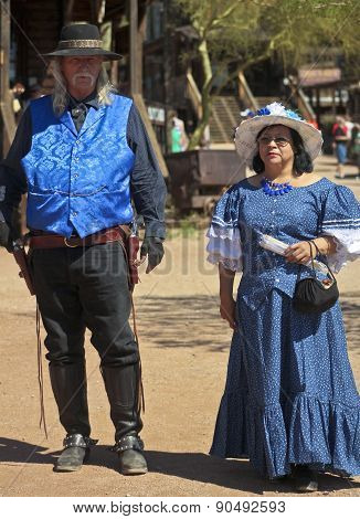A Couple In Blue At Goldfield Ghost Town, Arizona