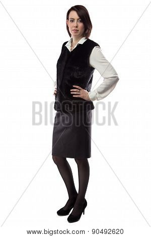 Portrait of serious woman in fur jacket