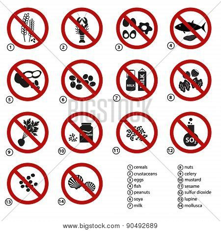 Set Of Typical Food Alergens Prohibitions For Restaurants And Meal