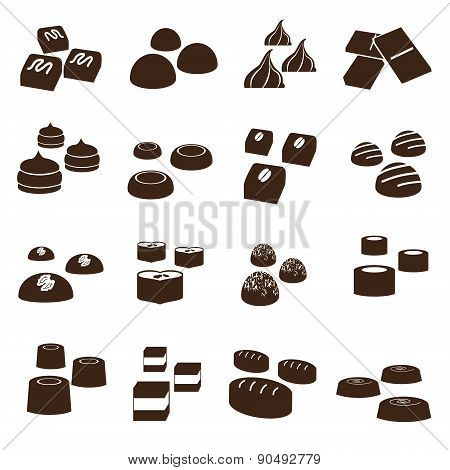 Sweet Chocolate Truffles Styles Icons Set