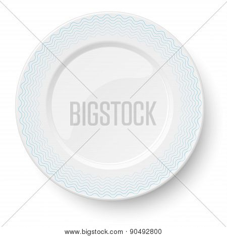 Empty Classic White Plate With Wavy Blue Pattern Isolated On White Background. View From Above.