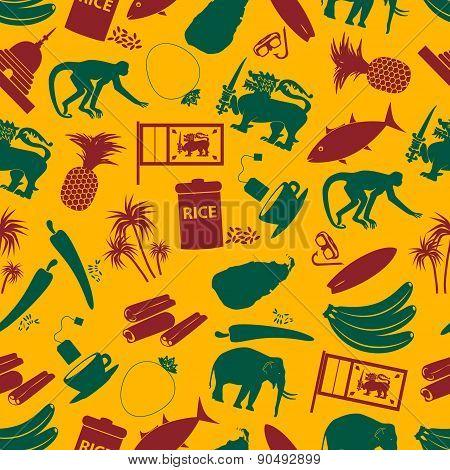 Sri-lanka Country Symbols Color Seamless Pattern