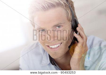 Smiling attractive customer service representative