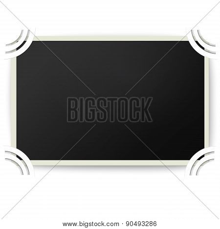 Retro Photo Frame With Straight Edges In Photo Album Isolated On White Background