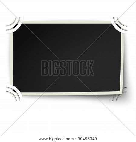 Retro Straight Edges Photo Frame With One Not Fixed Corner In Photo Album Isolated On White Backgrou