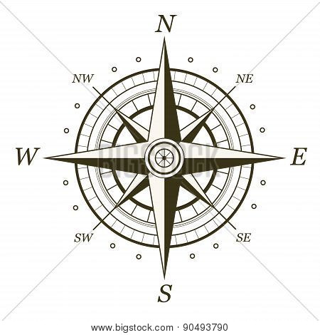 Classic Wind Rose Isolated On White Background