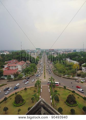 top view of the square and houses in the capital of Laos Vientiane