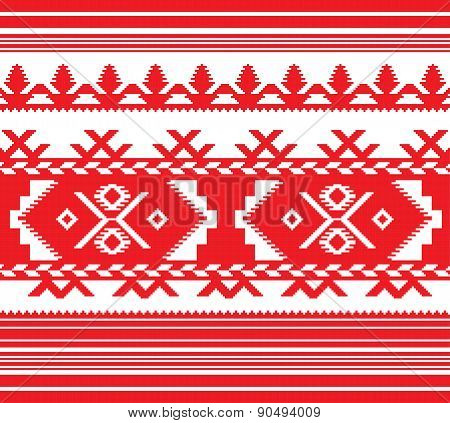 Set Of Ethnic Ornament Pattern In Red Color