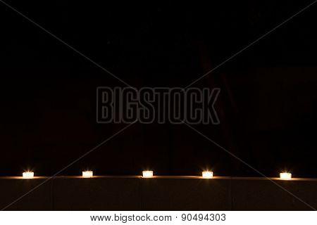 Row Of Tealights At Night