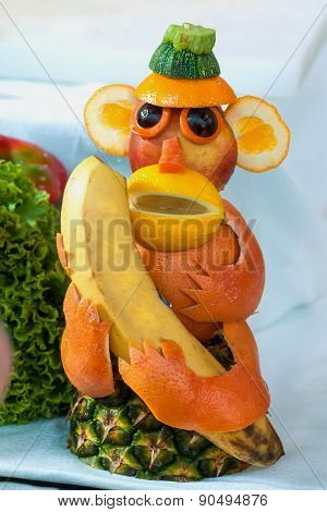 A Monkey Made From Fruits