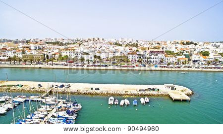 The harbor and the village Lagos in the Algarve Portugal