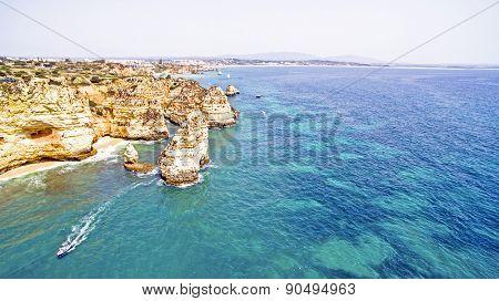 Natural rocks near Lagos in the Algarve Portugal