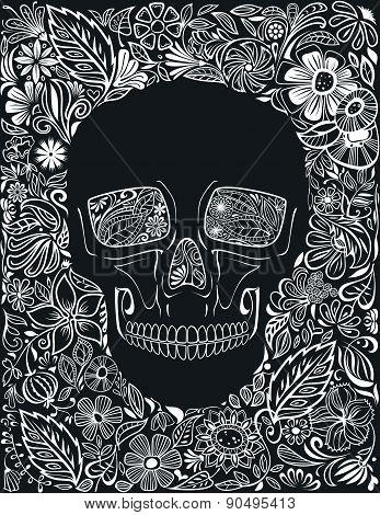 Human Skull Made Of Flowers.
