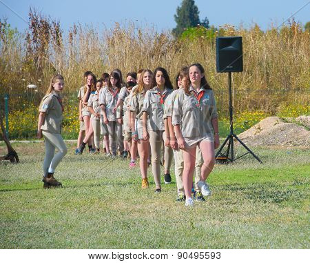 Israel Scouts Marching During A Yearly Graduation Ceremony