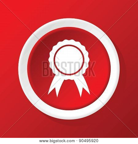 Certificate seal icon on red