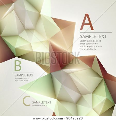Low poly triangular background. Infographics template. Vector illustration