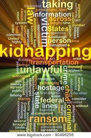 Background concept wordcloud illustration of kidnapping glowing light