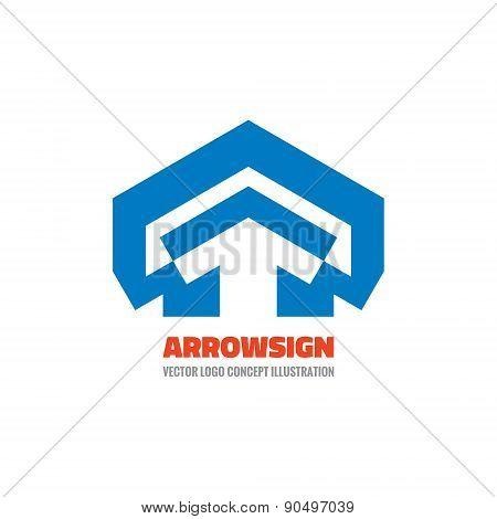 Arrow house - vector logo concept illustration