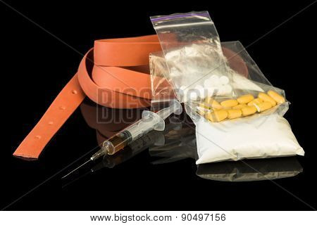 Drug syringe and heroin