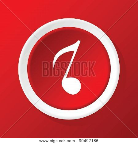 Eighth note icon on red