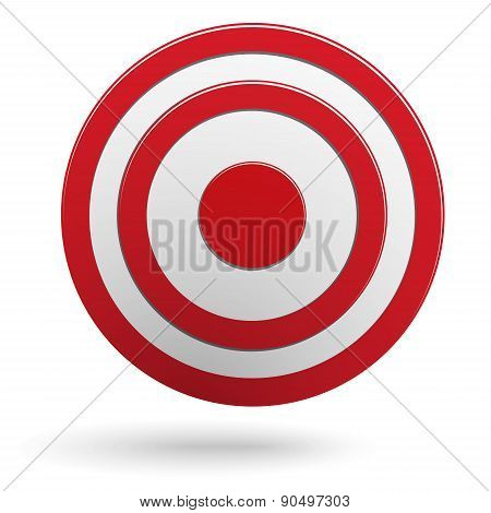 Red Round Darts Target Aim Isolated On White Background