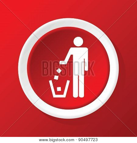 Recycling icon on red