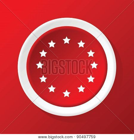 EU symbol icon on red