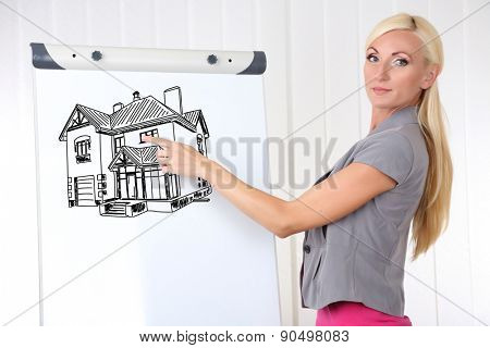 Businesswoman presenting house on flipchart in office