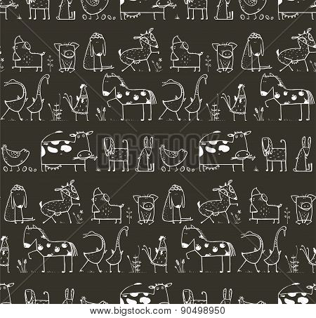 Funny Cartoon Farm Domestic Animals Seamless Pattern for Kids on Black