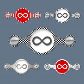 picture of infinity symbol  - five abstract objects with pattern and infinity symbol - JPG