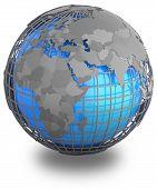 stock photo of hemisphere  - Eastern Hemisphere on a grey geographic net enveloping Earth isolated on white background - JPG