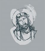 stock photo of passion christ  - Hand drawn vector illustration or drawing of Jesus Christ at His Passion - JPG