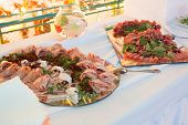 picture of catering  - Catering food at a wedding party .